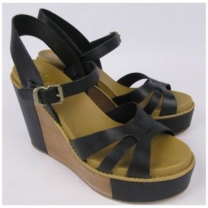 See By Chloe Black Wedge Ankle Sandals Shoes
